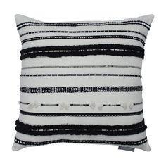 Line Works Square Throw Pillow Black/White - Pillow Perfect Gender: Unisex. Line Works Square Throw Pillow Black/White - Pillow Perfect Black And White Pillows, Black Throw Pillows, Black White, Couch Pillows, Romantic Bedroom Decor, Nature Color Palette, White Bedding, White Bedroom