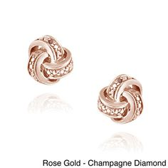 DB Designs Diamond Accent Rose Gold Love Knot Earrings | Overstock.com