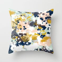 Buy Sloane - Abstract painting in modern fresh colors navy, mint, blush, cream, white, and gold by CharlotteWinter as a high quality Throw Pillow.…