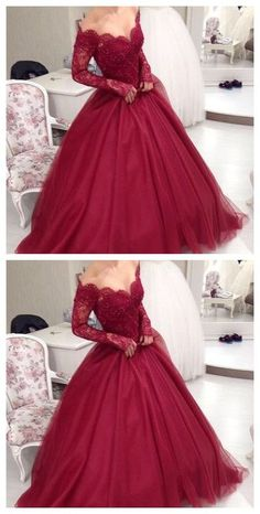 Burgundy prom dresses 2017 Ball Gowns evening dresses Sweetheart Lace Appliques Puffy Skirt Floor Length Wine Red Saudi Arabia Prom Dresses Custom
