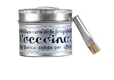 Coccoina Potato Starch Paper Glue - Kaufmann Mercantile. Italian paper glue. Ideal for photos, paper, and clothes. Non-toxic. Made from just four ingredients. Comes with tiny applicator brush in a 4.4 ounce (125 g) aluminum tin. Made in Italy since 1927.
