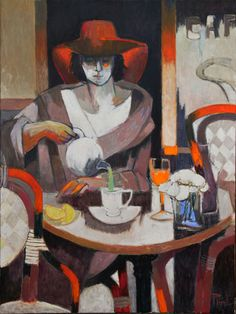 """huariqueje: """" The Terrace Room - Pierre Pivet French, b.1948- Mixed media , 40 x 30 in. """""""