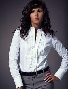 Chemisier blanc chemise femme blanche col droit NIFE K11 coton 36 38 40 42 2a24febac9ec