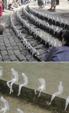 Azevedo's Ice Sculptures of Melting Men  Brazilian artist Nele Azevedo created hundreds of sitting figures out of ice. The installation lasted till the last one melted in the heat of the day.  Image: art & architecture