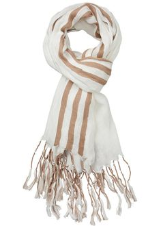 Stribet tørklæde 23800 Linen Striped Scarf - ivory
