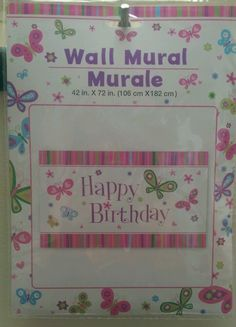 """Happy Birthday Wall Mural 42"""" × 72"""" butterfly theme  new in package #Greenbrier #happybithday"""
