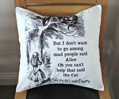 Alice in wonderland printed Pillow cover Art We re all by VeeDubz