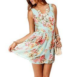 Mint/Floral Sleeveless Tank Skater Dress