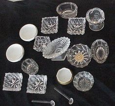 vintage cut glass crystal open salt cellar salt dips