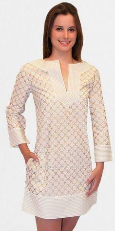 Golden Chain Tunic Summer Dresses by Gretchen Scott: - BjDress. Simple Dresses, Cute Dresses, Casual Dresses, Short Dresses, Fashion Dresses, Summer Dresses, Mode Glamour, Mode Style, Dress Patterns
