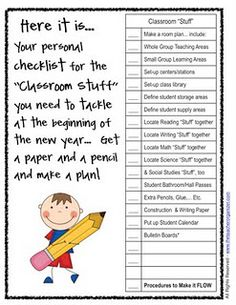 Organize the classroom before school starts