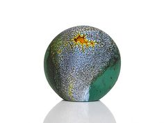 """Deep Blue Green Stone""  Art Glass Paperweight    Created by David Royce"