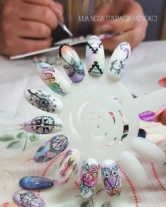 nails blur effect Get Nails, Love Nails, Pretty Nails, Hair And Nails, Manicure Simple, Manicure And Pedicure, Pink Nail Colors, Water Color Nails, Mandala Nails