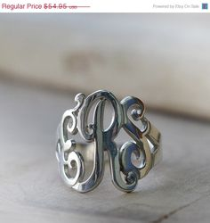Valentines Day Sale: Monogrammed Ring in by SincerelyMePJD on Etsy
