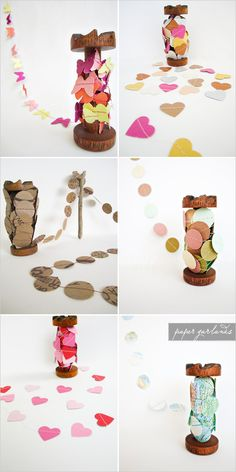 Adorable paper garlands in all colors and shapes. Hearts, stars, circles even maps for travel themed weddings. ♥