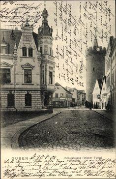 Ansichtskarte / Postkarte Guben in der Niederlausitz, Königstraße, Dicker Turm