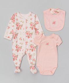 Pink Vintage Rose Footie Set - Infant