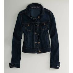 AE Dark Denim Jacket (€43) ❤ liked on Polyvore featuring outerwear, jackets, american eagle, ae, denim, dark wash, denim jacket, american eagle outfitters, jean jacket and blue denim jacket