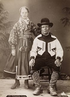 People from eastern Telemark, ca. NORWAY: The traditional folk costume of Norway, called Bunad. Nowadays, it is commonly worn on Norway's Constitution day (May The specifics of design may also vary, shown here is a couple from the Telemark region circa Antique Photos, Vintage Photos, Folk Costume, Costumes, Norwegian Style, Norwegian Fashion, Folk Clothing, People Of The World, Traditional Design
