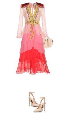 Gucci - Embellished ruffled silk crêpon dress - Cascading layers of soft silk… Red Ruffle Dress, Frill Dress, Dress Red, Gucci Dress, Gucci Gucci, Skirt And Top Set, Look Fashion, Fashion Design, Chiffon Gown