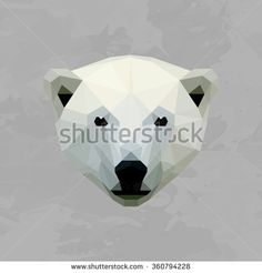 Polar bear colored head geometric lines silhouette isolated on grey background vintage vector design element illustration