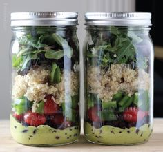 Layered salad in a jar ;) *Handful of organic mixed greens, 1/2 C. cooked quinoa, cold, 1/2 C. green pepper, a handful of cherry/grape tomatoes, 1/2 C. black beans, 2-3 tbs. of cilantro lime salad dressing @ the bottom