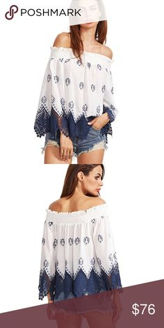 Off Shoulder Smocked Embroidered Eyelet Blouse This blouse has a boho chic vibe with it's on trend, off shoulder style and feminine lace handkerchief hem and eyelet details. Pretty ruffle edge and smocked neckline for a comfortable no slip fit.   ❌ Sorry, no trades.   fairlygirly fairlygirly Tops Blouses
