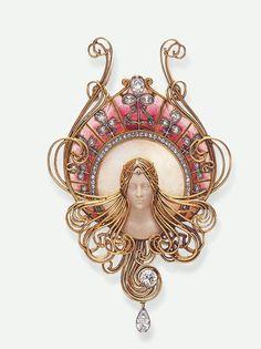 Diamond, hardstone, and enamel brooch set in gold, Gabriel Falguieres, ca. 1901