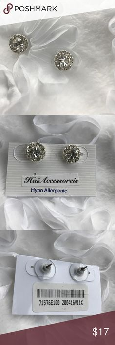 Large Round Rhinestone Earrings These earrings feature a large Rhinestone with accent stones surrounding. The diameter is 1cm.   They are hypo allergenic.--Rhodium Plated. haia accessories Jewelry Earrings
