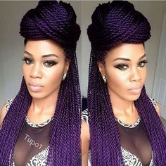 half updo with Senegalese twists