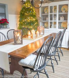 Dining Room Christmas decorating with lanterns + candles HomeGoods / Christmas home tour
