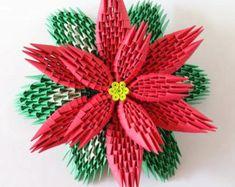 3d origami Poinsettia small by 3DOrigamiArtStudio on Etsy