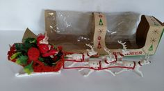 VINTAGE PLASTIC SANTA ON SLEIGH AND REINDEER DISPLAY