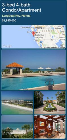 3-bed 4-bath Condo/Apartment in Longboat Key, Florida ►$1,995,000 #PropertyForSaleFlorida http://florida-magic.com/properties/51072-condo-apartment-for-sale-in-longboat-key-florida-with-3-bedroom-4-bathroom