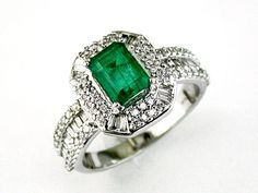 Ladies Diamond & Emerald Ring in 14K White Gold (TCW 1.83)