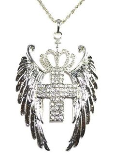 Angel Wings  Rhinestone Cross Pendant Metal Chain Fashion Necklace  Price : $15.00 http://yaha-fashion-llc.hostedbyamazon.com/Angel-Rhinestone-Pendant-Fashion-Necklace/dp/B00ADD7IGS