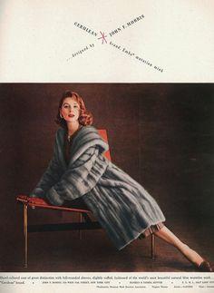Suzy Parker in mink for Vogue, August 1956.