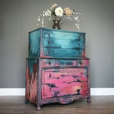 Painted dresser-layered paint-boho-refurbished furniture-chalk paint by Megan Shomidie Hand Painted Furniture, Distressed Furniture, Funky Furniture, Refurbished Furniture, Paint Furniture, Repurposed Furniture, Shabby Chic Furniture, Furniture Projects, Furniture Makeover