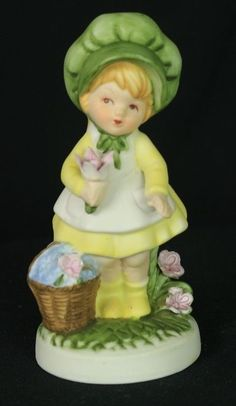 vintage ceramic figuring springtime little girl with bonnet and flowers in Collectibles, Decorative Collectibles, Figurines | eBay