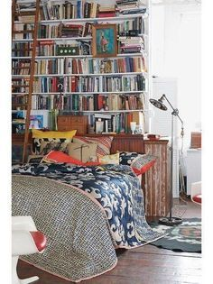 "another ""library"" bedroom Library Bedroom, Bookshelf Headboard, Bedroom Bookcase, Bookcase Wall, Shelf Wall, Bedroom Decor, Home Libraries, Up House, Deco Design"