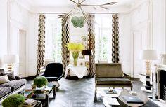 8 French Rooms to Ignite Interior Envy// Lauren Santo Domingo, Kubus fabric, parquet floor, Platner chair, Paris apartment