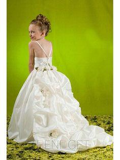 6e5a09baeb93f White Hand-made Flowers/Ruffle Puddle Train Taffeta Flower Girl Dress 002