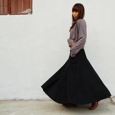 Maxiröcke - No.6 woolen langer Rock - less is more (Q1019b) - ein Designerstück von idea2lifestyle bei DaWanda