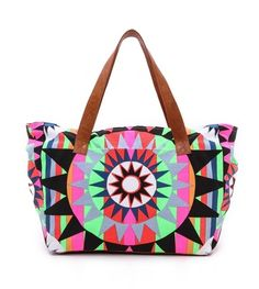 Mara Hoffman- Canvas Weekend Bag. This Canvas Tote Features a Fluorescent Print and a Lined Interior with a Zip Pocket.   * Height: 16in / 40.5cm  * Length: 26in / 66cm  * Depth: 8in / 20cm  * Handle drop: 10in / 25.5cm