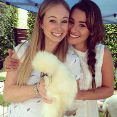 Lea and her best friend Stephanie Herman with a chicken