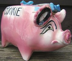 Check out sonsco pig piggy cookie jar ceramic pink blue with woven handle 1940s vintage on @eBay http://r.ebay.com/JjeXJu
