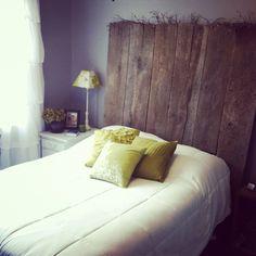 barn wood headboard. :)