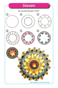Stargem by Lisa Wick McLean Mandala Doodle, Tangle Doodle, Tangle Art, Zen Doodle, Zentangle Drawings, Doodles Zentangles, Doodle Drawings, Doodle Designs, Doodle Patterns