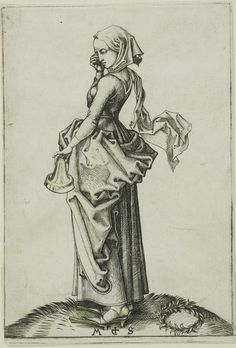 Sharp V back; can't see pleats. Some sort of belt. Foolish Virgin, Martin Schongauer