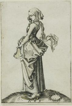 Sharp V back; can't see pleats. Some sort of belt. Foolish Virgin, Martin Schongauer